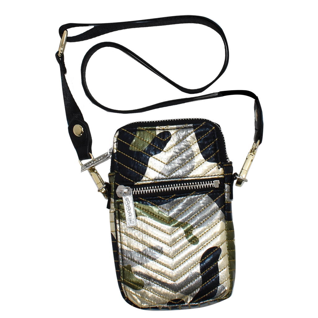 Metallic Camo Chevron Cell Bag