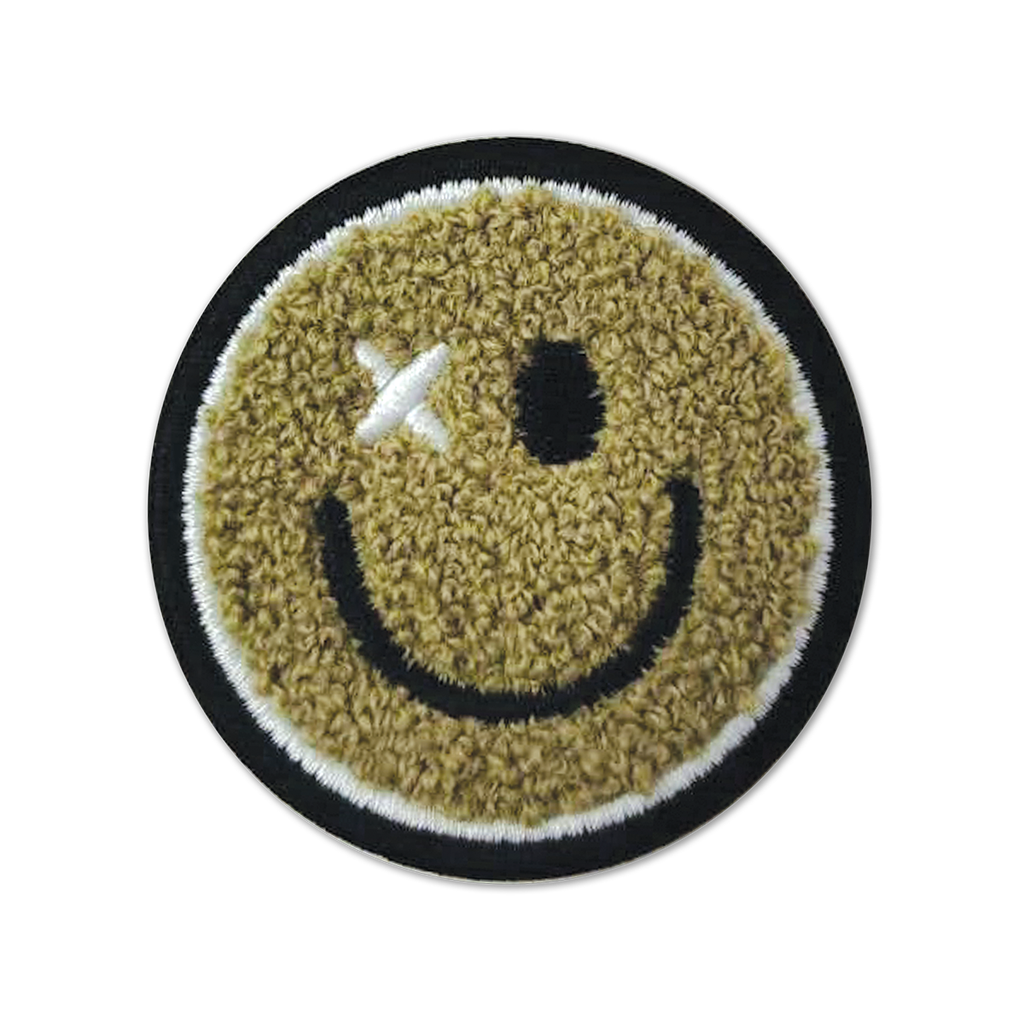 Happy Face Chenille Embroidered Sticker Patch