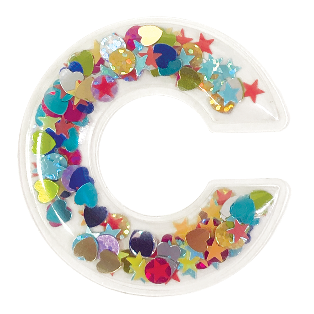 C Initial Confetti Sticker Patch