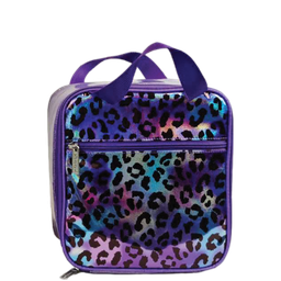 [810-1261] Leopard Iridescent Lunch Tote